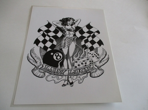 Lady Luck  Black and White Print