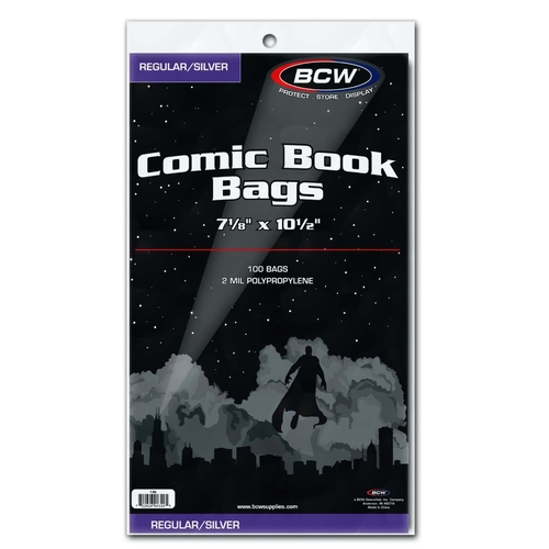 "BCW-SIL Silver/Regular  Bags 71/8"" x10.5"""